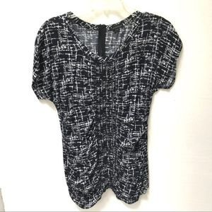 Navy & White 100% Rayon Ruched Print Tunic Top